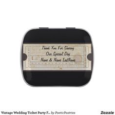 Vintage Wedding Ticket Party Favor Candy Tin
