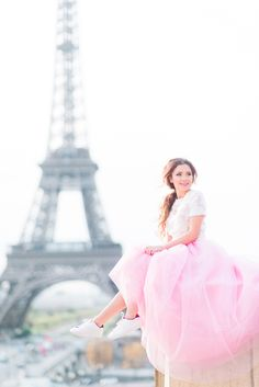 Pink and Paris go together like a dream! Eiffel Tower photos at Trocadéro. Pink maxi tulle skirt by Claudia Fagadar.