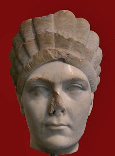 Marciana: marble head  Sister of Trajan, wearing diadem-like hair structures of the period (Side view). Grandmother of Hadrian's wife Sabina. Hadrianic period (130-138 CE). New York: Metropolitan Museum of Art