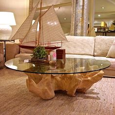 tree trunk table- this could be cool with my glass i have already...