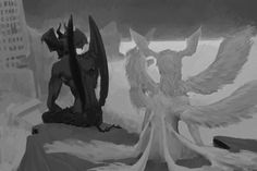 """""""an unfinished image. it was planned to be two prints that when put together, would have a fuller illustration. devilman staring over the ruins of what he fought for, and satan+the destruction he wanted, but hes glancing just slightly back at akira! Devilman Crybaby, Manga Anime, Anime Art, Akira, Aesthetic Art, Aesthetic Anime, Arte Van Gogh, Fanart, Arte Cyberpunk"""
