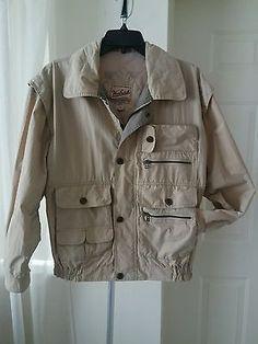 VTG Woolrich Mens Beige Utility Hunting Zip Jacket Med Vented Cotton Polyamide