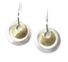 Takobia Silvertone Two Tone Bold Double Hoop Earrings -- Check out the image by visiting the link.