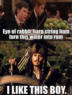 funny-Harry-Potter-Jack-Sparrow-water-rum Of course you do captain Jack. Also you need to hide the rum from will too. He blew it up Harry Potter Humor, Fans D'harry Potter, Harry Potter Spells, Harry Potter Facts, Harry Potter Funny Quotes, Harry Potter Disney, Harry Potter Characters, Movies Quotes, Famous Movie Quotes