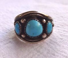 Signed Vintage NAVAJO Sterling Silver & TURQUOISE Cigar Band RING, size 8.25