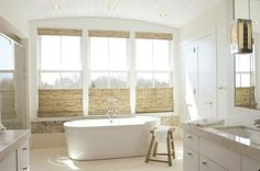 Woven Roman Shades with Top-Down Bottom-Up for Ultimate Privacy! Perfect for the bathroom setting!