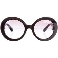 Prada Baroque Sunglasses ($175) ❤ liked on Polyvore featuring accessories, eyewear, sunglasses, glasses, black lens sunglasses, round glasses, rounded sunglasses, black round sunglasses and round lens glasses