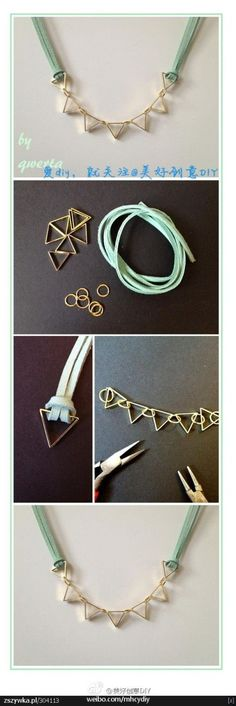 Cute DIY geometric necklace. I think I'd prefer a metal chain over the suede (or whatever) used here.