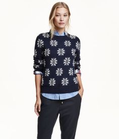 Long-sleeved, jacquard-knit sweater in a cotton blend with alpaca wool content.