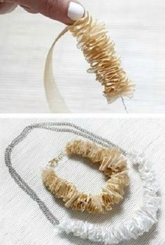 Best DIY Ideas Jewelry:    Easy Ribbon Necklace – Click on the image for the Turorial!    -Read More –