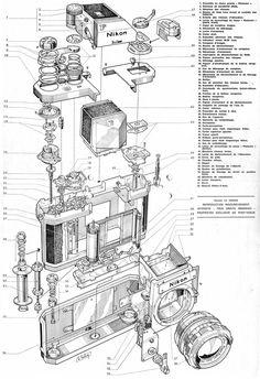 Enjoy the mechanical schematics of those old Nikon F film cameras