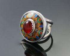 Cloisonné  Enamel Carnelian silver ring
