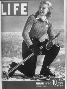 """Winter Scenes, Winter Fashions: Photos From Canadian Ski Slopes Check out that winter wear! LIFE magazine named Mont-Tremblant resort the """"ski-fashion center of the world"""" in What do you think of her classy gear? Ski Fashion, Golf Fashion, 1940s Fashion, Winter Fashion, Vintage Fashion, Fashion Women, High Fashion, Fashion Spring, Cheap Fashion"""