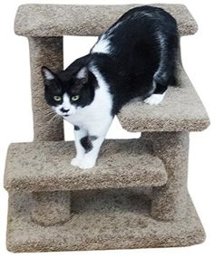 New Cat Condos Solid Wood Pet Stairs, Large, Brown 21 Inches For Pets Upto 100 pounds