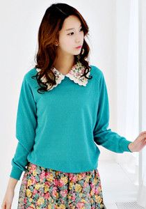 SALE: Floral Collar Pullover @ $39 SGD only! (Available in: Navy, Red, Mint)