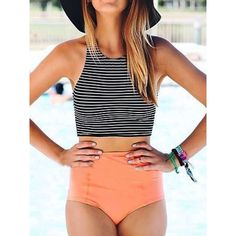 Choies Monochrome Stripe Bikini Top And Pink High Waist Bottom ($19) ❤ liked on Polyvore featuring swimwear, bikinis, multi, swim suit tops, high waisted swim wear, high waisted bikini, high rise swimwear and high waisted swimwear