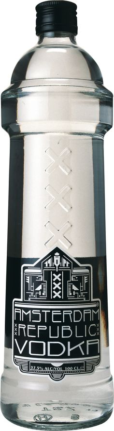 Amsterdam Republic Vodka (this is the large bottle) LBV Water Packaging, Beverage Packaging, Bottle Packaging, Brand Packaging, Packaging Design, Alcohol Bottles, Liquor Bottles, Wine And Liquor, Wine And Beer