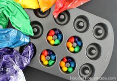 Mini Rainbow Doughnuts :: Recipe on HoosierHomemade.com Awesome use for my donut pan!
