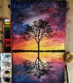 art, black, colors, diy, drawing, galaxy, stars, tree