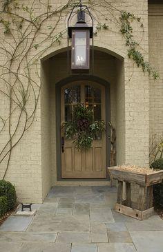 Wooden Manger at front Door, via Dana Wolter Interiors Front Door Colors, Front Door Decor, Front Doors, Front Entry, Grand Entrance, Entrance Doors, Entrance Ways, Exterior Design, Interior And Exterior