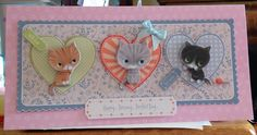 Greeting Card - DL - makings from docrafts Papermania 'Little Meow' collection Kids Cards, Handmade Cards, Cardmaking, Stamping, Card Ideas, Birthday Cards, Dog Cat, Greeting Cards, Scrapbooking