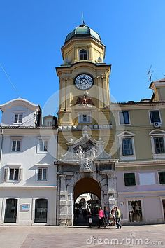 Antique clock tower building situated on main square in Rijeka Croatia.