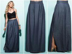 LIQUIDAÇÃO ✂️ DE OUTONO  Saia longa jeans. De R$ 169 por R$ 119