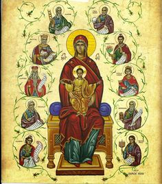 Orthodox Christian Education: Root of Jesse Tree: Christmas Activity for Sunday school Byzantine Icons, Byzantine Art, Religious Paintings, Religious Art, Tree Of Jesse, Faith Of Our Fathers, Easter Backgrounds, Blessed Mother Mary, Christian Christmas