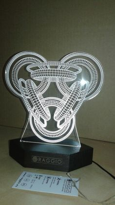 3D ilusion wire laser engraved acrylic with led light