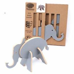 """Topozoo Elephant 3-D Wood Puzzle, Grey by Topozoo. $11.99. Simply construction-no tools or glue. Made in USA. Mix pieces with other Topozoo animals to make custom creatures. Large and attactive-like room décor. From the Manufacturer                Topozoo is a US manufactured toy collection that is part 3-D puzzle, part art, part room décor and all fun. The Elephant stands 7"""" tall and can be mixed with all other Topozoo animals to create custom creatures for a..."""