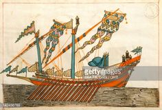 Turkish flagship with three lights, which was called Bastard Galeazza by the Venetians, miniature from Turkish Memories,Cicogna Codex, Turkey 17th Century.