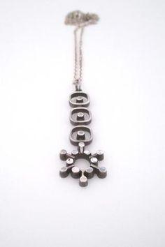 Jorma Laine Finland vintage modernist silver pendant necklace Nordic design