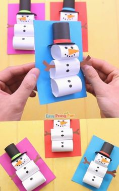 Schneemann basteln Making snowmen out in the snow is the best, but if there is no snow outside (or if it's just too cold) – our tutorial will teach you how to make a paper snowman craft that is just as fun. Winter Crafts For Kids, Easy Christmas Crafts, Christmas Activities, Craft Activities, Preschool Crafts, Christmas Fun, Diy Crafts, Spring Crafts, Crafts Cheap