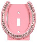 Bring a little luck and lots of sparkle to any room with the powder-coated steel Lucky Lady Pink Single Switch Plate with rhinestones and a genuine horseshoe.