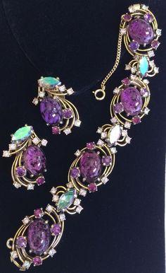 Stunning Vintage Schiaparelli Bracelet & Earrings Set~Art Glass/Rhinestones/Gold #Schiaparelli