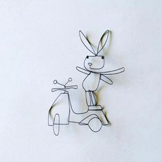 scooter bunny - wire art