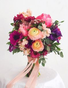 Pinks and purples make for a perfect summer wedding bouquet Diy Bouquet Mariage, Diy Wedding Bouquet, Bride Bouquets, Floral Bouquets, Floral Wedding, Wedding Colors, Purple Bouquets, Wedding Dresses, Wedding Shoes