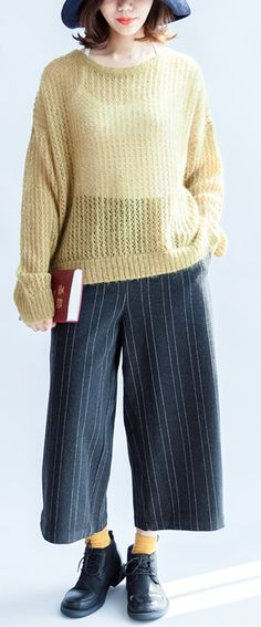 yellow-green-fashion-cotton-sweater-side-open-cable-knit-hollow-out-sweaters