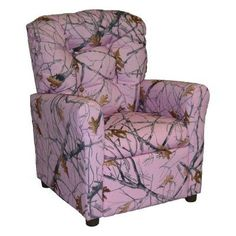 Brazil Furniture 4 Button Back Child Recliner - Pink Snow Camo - 400-CAMO-PINK SNOW