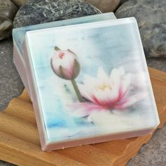 Graphic Art Soap Soft Muted Florals II in a Light Floral Fragrance by Alaiyna B. Bath and Body.  One of a set of 3 different images embedded in soap.