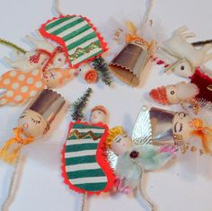Vintage Christmas Ornaments Package Ties Spun Cotton Chenille Japan x 10
