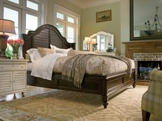 Paula Deen Home Collection- Steel Magnolia Bed, Door Nightstand, and Decorative Landscape Mirror all in a Tobacco finish