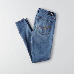 AE Denim X4 Hi-Rise Jegging ($30) ❤ liked on Polyvore featuring pants, leggings, denim jean leggings, stretch leggings, denim leggings, legging pants and blue leggings