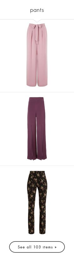 """""""pants"""" by israa-hosni ❤ liked on Polyvore featuring pants, pantaloni, trousers, miss selfridge, pink trousers, pink pants, bottoms, suit, wide leg pants and silk pants"""