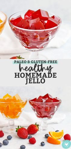 This homemade gelatin recipe is made from natural ingredients & natural sweeteners, without any dye or additives. Jello Gelatin, Beef Gelatin, Gelatin Recipes, Jello Recipes, Juicer Recipes, Snacks Recipes, Free Recipes, Gluten Free Treats, Paleo Treats