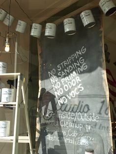 Chalk Paint® by Annie Sloan window display at Studio184 in Madison, Wisconsin #studio184 #chalkpaint #anniesloanstockist studio184stoughton.com