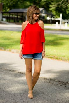 Red Top + Denim Shorts