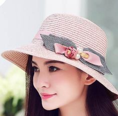 Pearl bow straw sun hats for ladies summer bucket hat