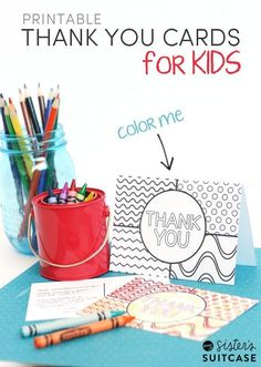Encourage kids to send Thank You cards - they can color and fill them in themselves! Free #printables from sisterssuitcaseblog.com
