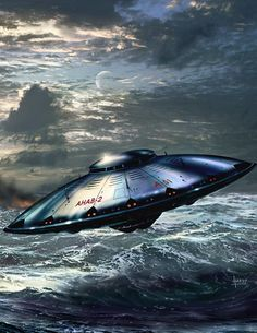 Alien spacecraft flying over water, artwork by DAVID A HARDY | Flickr - Photo Sharing!